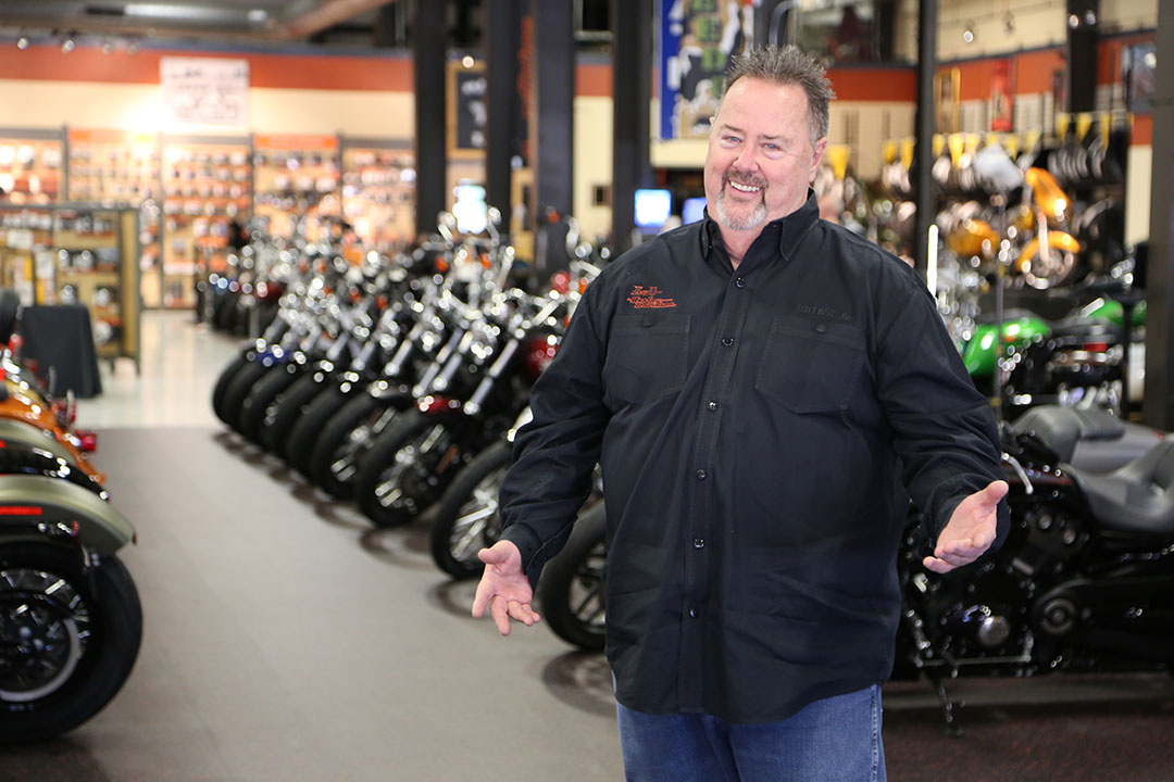 John Story, owner of L-A Harley Davidson in Lewiston, Maine