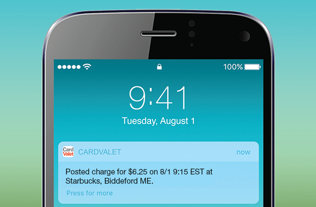 Smartphone displaying CardValet push notification after a debit card purchase